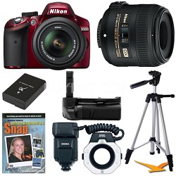 D3200 DX Red Digital SLR Camera Macro Photographer Bundle