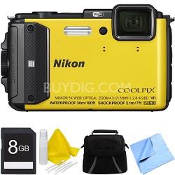 COOLPIX AW130 Waterproof Shockproof Freezeproof Digital Camera 8GB Bundle Yellow