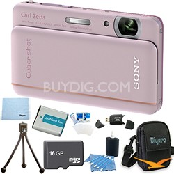 "Cyber-shot DSC-TX66 18.2 MP CMOS Camera 5X Zoom 3.3"" OLED Pink 16 GB Memory Kit"