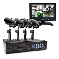 Alpha SWA44-D1C2M1-US 4 Channel DVR and 4 Indoor/Outdoor Cameras and 7-Inch LCD