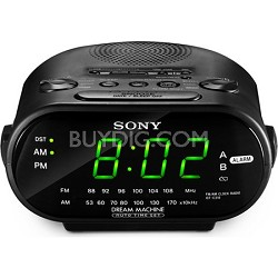 ICF-C318 Black Automatic Time Set AM/FM Clock Radio with Dual Alarm