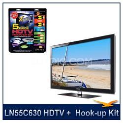 "LN55C630 - 55"" 1080p 120Hz LCD HDTV + High performance Hook-Up"