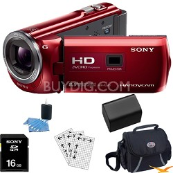 HDR-PJ380/R 16GB Full HD Camcorder with Projector (Red) Essentials Bundle