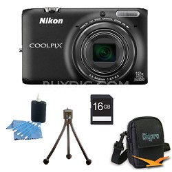COOLPIX S6500 16 MP Digital Camera with 12x Zoom 16 GB Bundle (Black)
