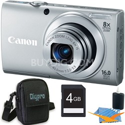 PowerShot A4000 IS 16MP Silver Digital Camera 4GB Bundle
