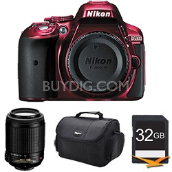 D5300 DX-Format 24.2MP DSLR Body (Red) with 55-200mm VR Lens Bundle