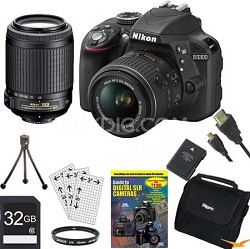 D3300 DSLR 24.2 MP HD 1080p Camera with 18-55, 55-200VR Lens - Black Bundle