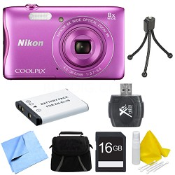 COOLPIX S3700 20.1MP 720p HD Video Digital Camera - Pink Deluxe Bundle