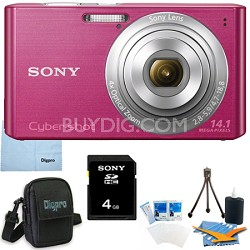 Cyber-shot DSC-W610 Pink 4GB Digital Camera Bundle