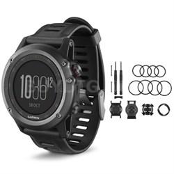 fenix 3 Multisport Training GPS Watch Gray Quick Release Mounting Kit Bundle