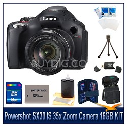 Powershot SX30 IS Camera 16GB Bundle w/ Reader, Case, Battery, Tripod and More