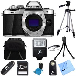 OM-D E-M10 Mark II Mirrorless Micro Four Third Digital Camera Silver Body Bundle