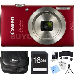 PowerShot ELPH 180 20MP 8x Optical Zoom HD Red Digital Camera 16GB Card Bundle