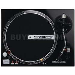 RP-2000-M DJ Turntable with Quartz Driven Direct Drive, Metallic Black
