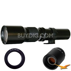 500P - 500mm f/8.0 Telephoto Lens for Sony E-Mount (NEX) with 2x Multiplier