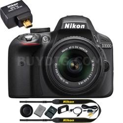 Refurbished D3300 24.2MP DSLR Camera w/ 18-55 VR II Lens (Black) + Wifi Adapter