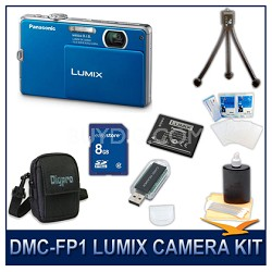 DMC-FP1A LUMIX 12.1 MP Digital Camera (Blue), 8G SD Card, Card Reader & Case