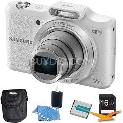 WB50F 16.2MP 12x Opt Zoom Smart Digital Camera White 16GB Kit