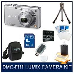DMC-FH1S LUMIX 12.1 MP Digital Camera (Silver), 8GB SD Card, Card Reader & Case