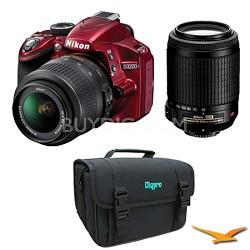D3200 DX-format DSLR Kit w/ 18-55mm DX VR Zoom Lens & 55-200mm VR Lens (Red)