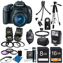 EOS Digital Rebel T3i 18MP SLR With 18-55 IS Ultra 3 Lens Bundle With Flash