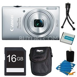 PowerShot ELPH 130 IS Silver 16MP Digital Camera 16GB Bundle