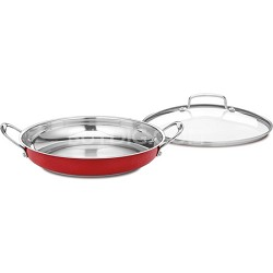 Chef's Classic Stainless 12-Inch Everyday Pan with Cover, Metallic Red