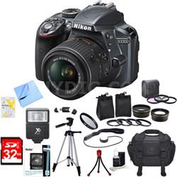 D3300 DSLR 24.2 MP HD 1080p Camera with 18-55mm VR Lens Ultimate Bundle (Grey)