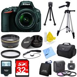 D5500 Black DSLR Camera 18-55mm Lens, Wide Lens, Converter, and Flash Bundle