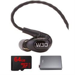 W30 Triple Driver Premium In-Ear Monitor Noise Isolating Headphones w/ FiiO Amp