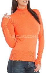 Turtleneck Sweater for Women - Color: Tangerine / Size: Small