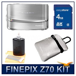 FINEPIX Z70 Silver + 4GB Memory Card + Camera Case + 3pc. Lens Cleaning Kit