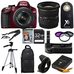 D3200 DX Red Digital SLR Camera Landscape Photographer Bundle