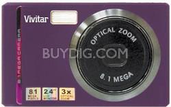 """Vivicam V8225 8.1MP 2.4""""LCD, 8x Zoom Digital Camera (Purple)"""