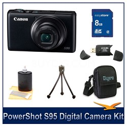 Powershot S95 Digital Camera 8GB Bundle w/ Reader, Case, Tripod and more