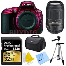 D5500 Red Digital SLR Camera, 55-300 Lens, 32GB, and Cleaner Bundle
