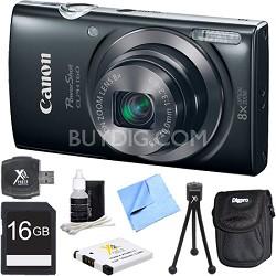 PowerShot ELPH 160 20MP 8x Opt Zoom HD Digital Camera - Black 16GB Bundle