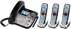 DECT 6.0 Corded/Cordless Digital Answering System with Three Cordless Handsets
