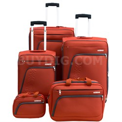 "Glider 5Pc Spinner Luggage Set 28"", 24"", 20"", Boarding & Toiletry Bag - Orange"