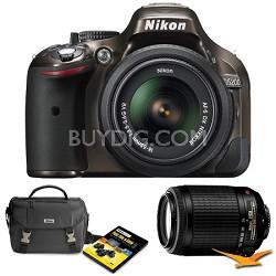 D5200 24.1 MP DSLR Camera Bronze 18-55mm VR & 55-200 VR Lens Father's Day Bundle
