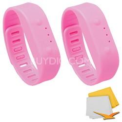 Bluetooth Activity Tracker Sports Bracelet 2-Pack Bundle - Pink