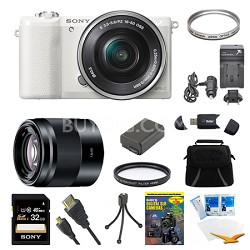 a5100 Mirrorless Camera w/ 16-50mm and 50mm Lens White Bundle