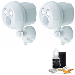 MB380 Weatherproof Wireless Battery Powered LED Ultra Bright Spotlight 2-Pack