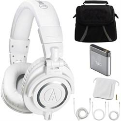 ATH-M50X Professional Studio Headphones (WHITE) Ultimate Amplifier Bundle