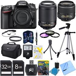 D7200 DX-Format 24.2MP Digital HD-SLR Body w/ 18-55mm and 55-200mm Lens Bundle