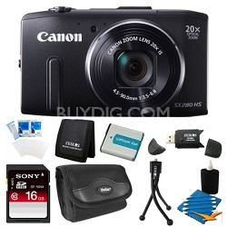 PowerShot SX280 HS Black Digital Camera with 20x Opt. Zoom Black 16GB Bundle