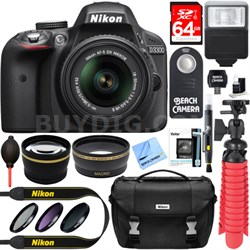 D3300 DSLR 24.2 MP HD 1080p Camera with 18-55mm Lens + Accessory Bundle (Black)