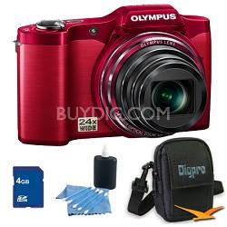 4 GB Kit SZ-12 14MP 3.0 LCD 24x Opt Zoom Digital Camera - Red