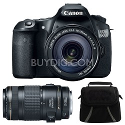 EOS 60D Camera w/ 18-135mm & 70-300mm Lenses and Case Bundle