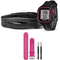 Forerunner 25 GPS Fitness Watch w/ Heart Rate Monitor Large Red - Pink Bundle